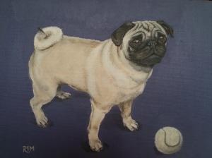 Pug With Ball, acrylic on canvas