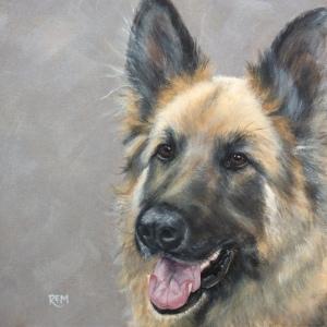 Troy, acrylic on canvas in beech frame, 37 x 37cm