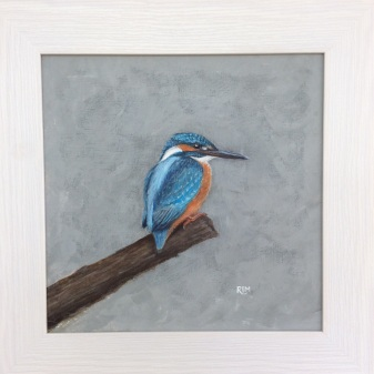 Kingfisher, acrylic, 40 x 40cm framed