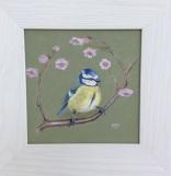 Blue Tit, acrylic, 30 x 30cm framed